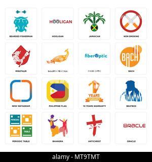16 Einfache editierbare Ikonen wie Oracle, Antichrist, bhangra, Periodensystem, Beatbox, bärtigen Fischer, Minotaurus, neue Instagram, LWL - Stockfoto