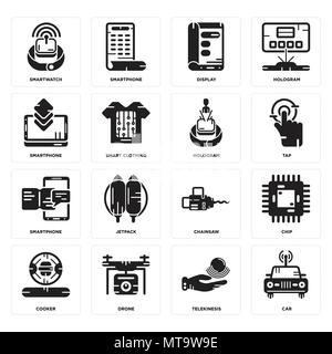 16 Einfache editierbare Ikonen wie Auto, Telekinese, Drone, Kocher, Chip, erobert, Smartphone, Hologramm für mobile verwendet werden, die Web-UI - Stockfoto