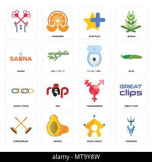 16 Einfache editierbare Ikonen wie Poseidon, der königlichen Familie, Papaya, streetbrush, tolle Clips,, Sauna, Supply Chain, wc Schüssel kann für m verwendet werden. - Stockfoto