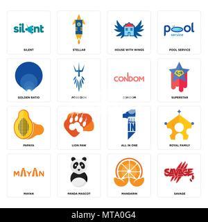 16 Einfache editierbare Ikonen wie Savage, Mandarin, panda Maskottchen, Maya, der königlichen Familie, leise, Goldener Schnitt, Papaya, Kondom kann für Mobi verwendet werden. - Stockfoto