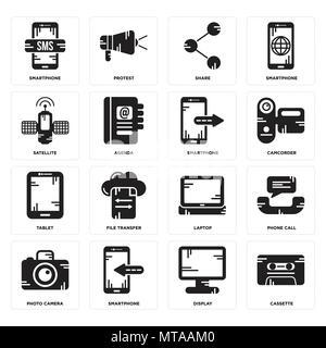 16 Einfache editierbare Ikonen wie Kassette, Display, Smartphone, Foto, Kamera, Telefon, Satellit, Tablet-PC, Smartphone kann für mobile verwendet werden, - Stockfoto