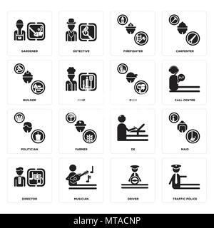 16 Einfache editierbare Ikonen wie Verkehrspolizei, Treiber, Musiker, Regisseur, Dienstmädchen, Gärtner, Baumeister, Politiker, Dyer für mobile verwendet werden, - Stockfoto