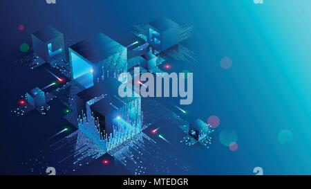 Blockchain Konzept Banner. Isometrische digitale Bausteine Verbindung miteinander und formen crypto Kette. Blöcke, oder Würfel, Verbindung Ziffern besteht. Ein - Stockfoto