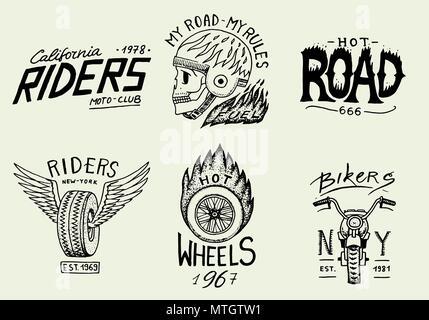 Satz von biker Club emblem Vorlagen. Oldtimer Motorrad Etiketten ...