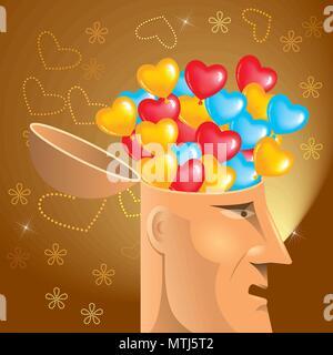 Künstliche Intelligenz Konzeption, herzförmige Ballons im Gehirn. - Stockfoto