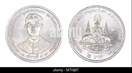 Satz Von Thai Baht Münzen Isoliert Auf Weiss Stockfoto Bild
