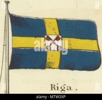 """. Englisch: Riga. Johnson's neues Diagramm der Hoheitszeichen, 1868.jpg Johnson neue Diagramm der Hoheitszeichen. Drucken mit den Flaggen der verschiedenen Länder, die von den Schiffen geflogen, und der 'Signale für Piloten."""" oben links in der Ecke ist die """"Vereinigten Staaten"""" 37-star Flag, in der rechten oberen Ecke ist die 'Royal Standard des Vereinigten Königreichs Großbritannien und Irland"""" in der unteren linken Ecke befindet sich die """"Russian Standard"""" und in der rechten unteren Ecke wird der """"französischen Standard."""" Die Flaggen auf diesem Blatt leicht von den auf einem anderen Blatt unterschiedlich nummeriert 4 [links oben] und 5 [oben rechts]. 1868. Alvin Jewett - Stockfoto"""