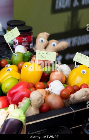 Relish aus unförmiges Obst und Gemüse. Wonky Food Company zu einem Food Festival. Oxfordshire, England - Stockfoto