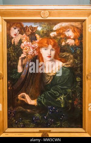 "England, London, London, Guildhall, Guildhall Art Museum, Gemälde mit dem Titel ""La Ghirlandata"" aka Der Garlanded Frau von Dante Gabriel Rossetti - Stockfoto"