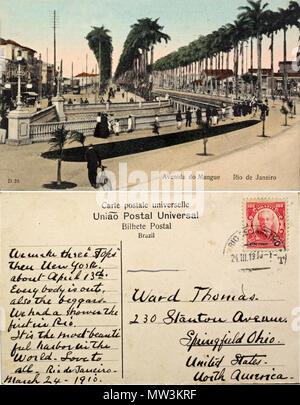 . Português: Canal do Mangue no Rio de Janeiro em 1910. 24. März 1910. União Post Universal 65 Avenida do Mangue - Stockfoto