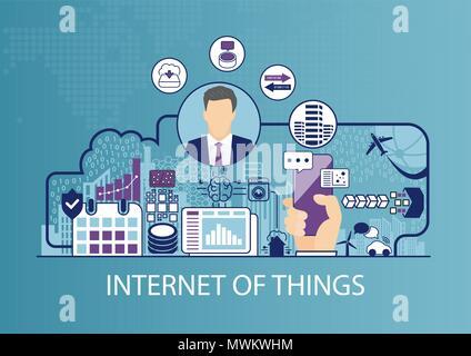 Internet der Dinge (IOT) Vector Illustration mit Geschäftsmann und Symbole. - Stockfoto