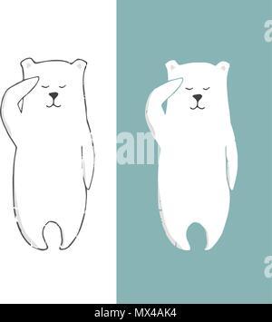 Polar Bear clip art Farbe Textur Charakter zeichnen Abbildung element Eisberg Meer Ozean leben Tierwelt lustiges Gesicht lächeln winter Hände auf weißen backgr - Stockfoto