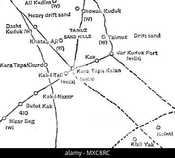 Englisch: 1886 Karte von qarah Tappeh (Kara Tapa) Bereich in Jowzjan ...