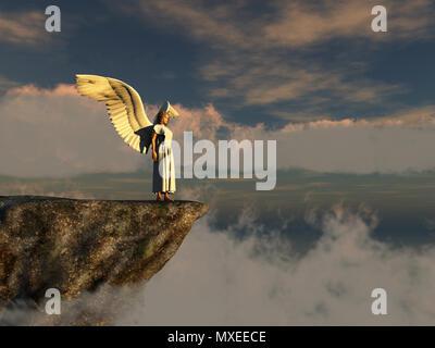 Geflügelte Frau am Rand einer Klippe. - Stockfoto