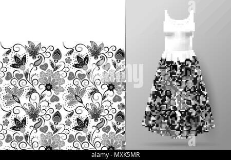 Nahtlose Vertikale Fantasy Blumen Muster Hand Zeichnen Floral