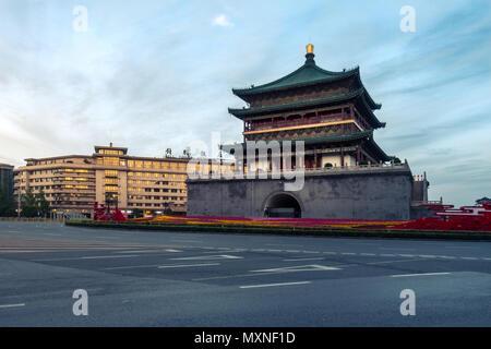 Alte chinesische Tempel Architektur beleuchtete Stadt Fest Feier Lichter Xi'an, China - Stockfoto