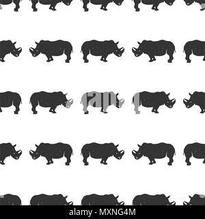 Rhino nahtlos. Wildes Tier Tapete. Lieferbar Nashorn Muster auf weißem Hintergrund. Monochrome Vintage hand Design gezeichnet - Stockfoto