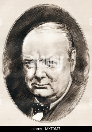Sir Winston Leonard Spencer-Churchill, 1874 - 1965. Britischer Politiker, Offizier in der Armee, Schriftsteller und zwei Mal Premierminister des Vereinigten Königreichs. Abbildung von Gordon Ross, US-amerikanischer Künstler und Illustrator (1873-1946), von lebenden Biographien berühmter Männer. - Stockfoto