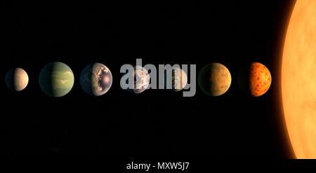 Virtuelle Darstellung der Planeten in der Nähe des Stern. Vergleich der Größen und Typen von Planeten. - Stockfoto