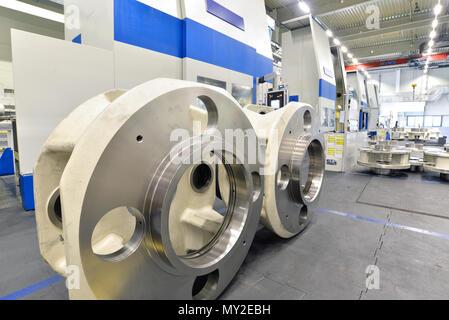 Werk des modernen Maschinenbaus - Produktion von Getrieben für Windkraftanlagen - Stockfoto