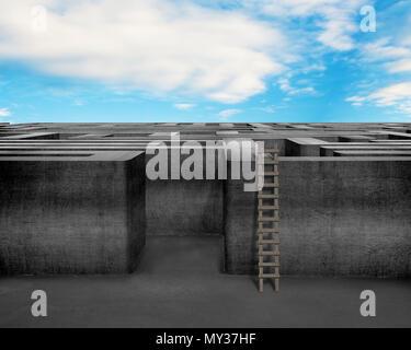 Labyrinth mit Holzleiter, Wolke und blauer Himmel - Stockfoto