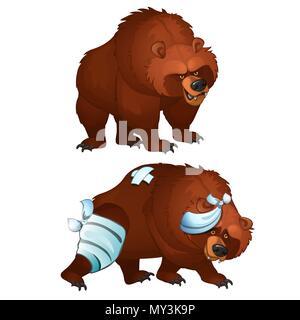 Gesunde und Kranke Bären auf weißem Hintergrund. Vektor cartoon Close-up Abbildung. - Stockfoto