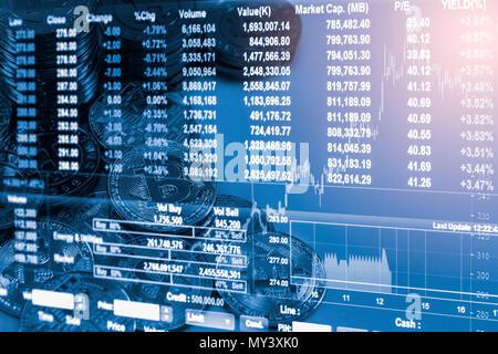 Moderne Art von Austausch und bitcoin ist bequeme Zahlung in der globalen Wirtschaft. Virtuelle digitale Währung und finanzielle Investitionen Handel Konzept. Cr - Stockfoto