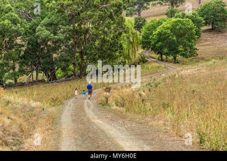 Der Großvater mit seinem Enkel auf einem Pfad in den oberen Hunter Valley, NSW, Australien. - Stockfoto