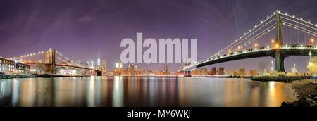 Panorama von New York City, USA Skyline bei Nacht - Stockfoto