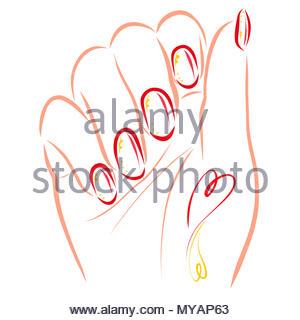 Weibliche hand mit Maniküre und Tattoo - Stockfoto