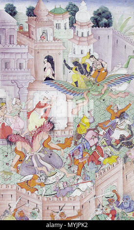 . Englisch: Beitritt Anzahl: 1990: 286 Anzeige Titel: Krishna bindet sich der Dämon Narakasura mit seinem Discus Suite Name: Harivamsha Media & Support: 'Opak Aquarell und Gold auf dem Papier, wie ein Album Seite 'Erstellungsdatum: ca montiert. 1585-1590 Erstellung Ort/Betrifft: Indien: Neu Delhi State-Province Gericht: Mughal Schule: Mughal Display Abmessungen: 11 27/32 x 7 1/8 in. (30,1 cm x 18,1 cm) Kreditlinie: Edwin Binney 3 Collection Label kopieren: Ein Anhang zu dem Mahabharata (Razmnama), der Harivamsa erzählt die Geschichte von den Abenteuern von Krishna, eine der Inkarnationen Vishnus. Der Text wurde Rende - Stockfoto