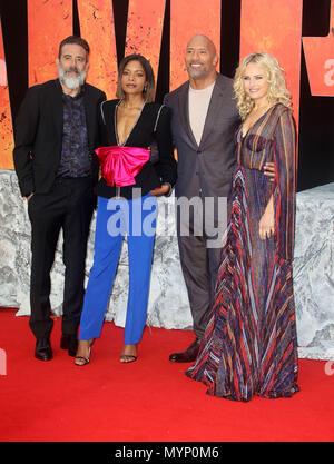 April 11, 2018 - Jeffrey Dean Morgan, Naomie Harris, Dwayne Johnson und Malin Akerman Teilnahme an Rampage europäische Premiere im Cineworld Leicester Quadrat - Stockfoto