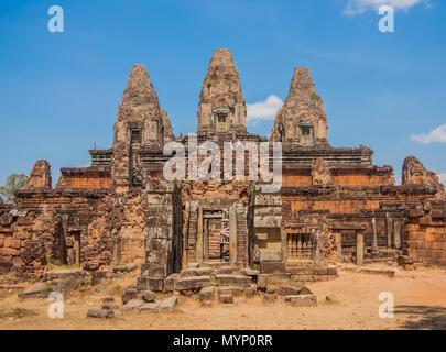 Angkor Thom Kambodscha - das größte religiöse Monument der Welt, ehemalige Hauptstadt der Khmer reich und berühmt für die Flächen in den Felsen gehauen - Stockfoto