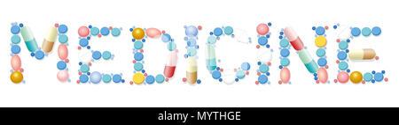 Medizin setzt sich mit verschiedenen Pillen, Tabletten, Kapseln - Abbildung auf weißem Hintergrund. - Stockfoto