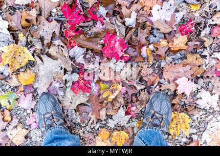 Gefallenen Herbst braun, orange, rot, golden viele Blätter und Schuhe auf dem Boden mit den Füßen flach des Menschen legen, Ansicht von oben nach unten in Harper's Ferry, West Virginia - Stockfoto