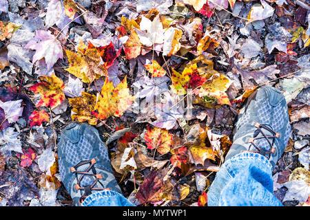 Gefallenen Herbst braun, orange, rot, golden viele Blätter auf dem Boden mit den Füßen Schuhe flache des Menschen legen, Ansicht von oben nach unten in Harper's Ferry, West Virginia - Stockfoto