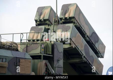 Ein anti-schiff und an Land Attack missile Naval Strike Rakete (NSM) entwickelt, die von der norwegischen Firma Kongsberg Defence & Aerospace (KDA), durch Coasta verwendet - Stockfoto