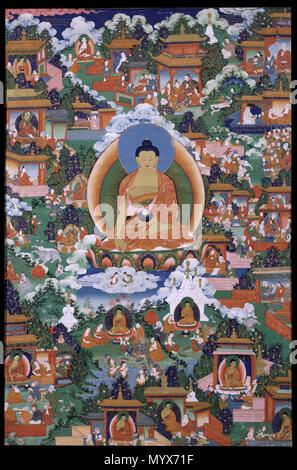 . Buddha Shakyamuni mit Avadana Legende Szenen. Jahrhundert 5 Buddha Shakyamuni mit Avadana Legende Szenen - Google Kunst Projekt - Stockfoto