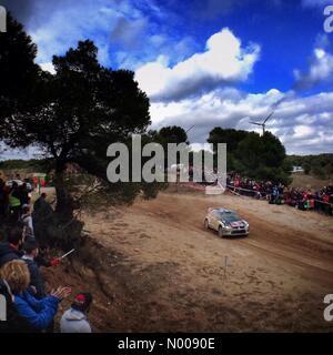 14.10.2016 WRC World Rally Championship RACC Rally de España SS7 Terra Alta 2 [La Fatarella] - Andreas Mikkelsen/Anders - Stockfoto