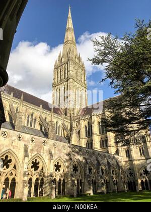 Salisbury, Großbritannien. 15 Feb, 2018. UK Wetter: Sonnig in Salisbury. Die Kathedrale von Salisbury, Salisbury. - Stockfoto