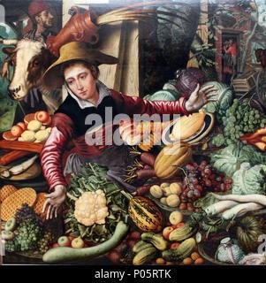 . Markt Frau an einem gemüsestand. 1567 270 1567 Aertsen Marktfrau am Gemuesestand anagoria