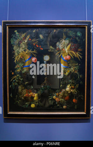Wien, Österreich - 22. Oktober 2017: Jan Davidsz. de Heem Eucharistie in Obst Kranz (1655) im Kunsthistorischen Museum oder Kunsthistorische Museum - Stockfoto