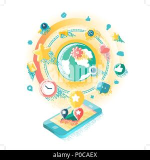 Social-Media-Illustration - Stockfoto