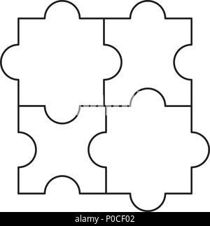 Puzzleteile Symbol auf weißem Hintergrund, Vector Illustration - Stockfoto