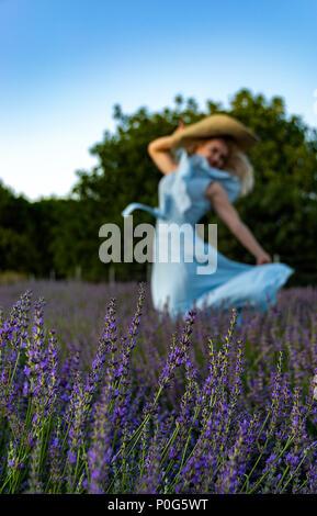 Lavendel Festival und eine Frau in Lavendelfeld - Stockfoto