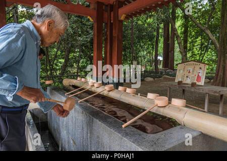Vor der Eingabe eines Shinto Schrein Besucher selbst mit Wasser an der temizuya reinigen. Ein Mann wäscht seine Hände mit Pendelarm, Hikawa Jinja Schrein, Omiya - Stockfoto