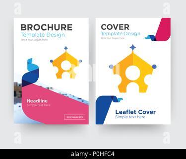 Königliche familie Broschüren Flyer Design Template mit abstrakten Foto Hintergrund, minimalistischen Trend business Corporate roll up- oder Jahresbericht - Stockfoto