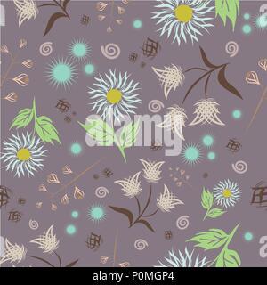 Die nahtlose Vektor floralen Muster. Moderne abstrakte farbenfrohe Stil. Hand gezeichnet, - Lager. Hintergrund oder Tapeten, Muster für Stoff- oder Textil. - Stockfoto