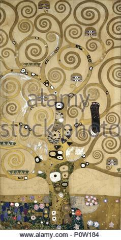 Skizzen für die Frieze für das Palais Stoclet in Brüssel, Belgien. Aquarell und Bleistift. Autor: Gustav Klimt (1862-1918). Ort: Museum für Angewandte Kunst, Wien, Österreich. - Stockfoto