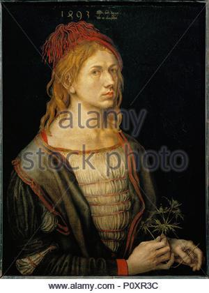 Albrecht Dürer, Selbstbildnis, 1493 Öl auf Papier auf Leinwand, 56,5 x 44,5 cm RF 2382 (auch unter 40-13-02/4). Autor: Albrecht Dürer (1471-1528). Lage: Louvre, Dpt. des Peintures, Paris, Frankreich. - Stockfoto